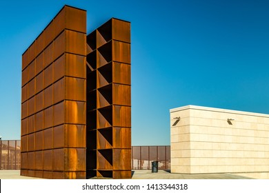 BOLOGNA, ITALY - MAY 10, 2019: sunlight is enlightening the Shoah Memorial monument in Bologna