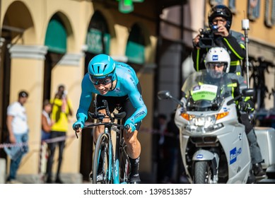 Bologna, Italy May 11, 2019: Miguel Ángel López , professional cyclist of the Astana Pro Team, during the time trial stage on the first day of the Giro D'Italia 2019 in Bologna.