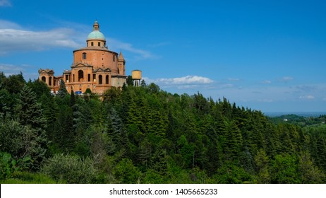 Bologna / Italy - May 11, 2019: Basilica di San Luca, ancient religious building on a hilltop in Italy