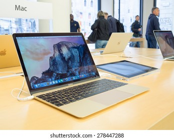 BOLOGNA, ITALY - May 16, 2015: The new MacBook from the Apple Store in Bologna. The new MacBook is lighter and thinner than ever.
