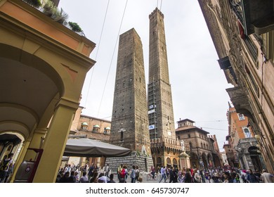 BOLOGNA, ITALY - May 20, 2017: The two leaning towers of Bologna (Asinelli and Garisenda, le due torri), landmarks of the city.