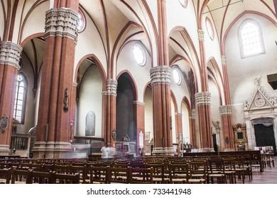 BOLOGNA, ITALY - May 20, 2017: Inside the Basilica of San Petronio, main church in Bologna, Emilia Romagna, northern Italy