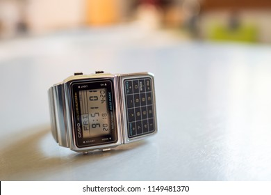BOLOGNA, ITALY - MAY, 2018: Casio digital Calculator watch. Casio is a Japanese company manufacturing watch products, precision instruments and mechanics. Illustrative editorial.