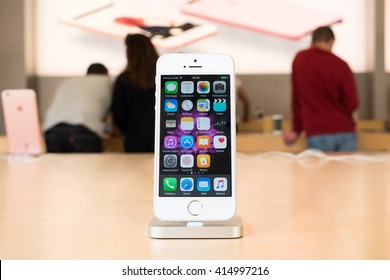 Bologna, Italy - May 3, 2016: iPhone SE on display at the Apple Store in Bologna.