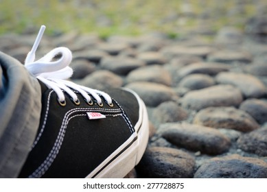 BOLOGNA, ITALY - May 5, 2015: Vans Shoes. Illustrative image of a black and white Vans Shoe.