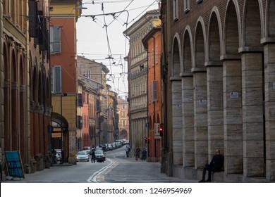 Bologna, Italy - November 11, 2018: Typical street of Bologna