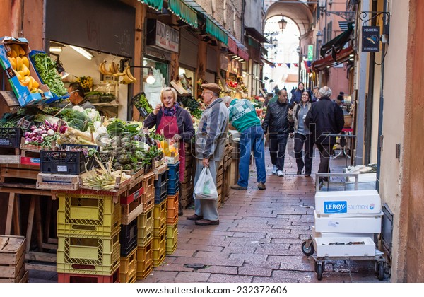 """Bologna, Italy - November 18, 2014: Grocery stores in the """"Quadrilatero"""" in Bologna. The """"Quadrilatero"""" in Bologna, Italy, famous in all the way to the grocery stores with quality products"""