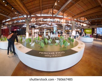 Bologna, Italy - November 18, 2017: Fico Eataly World, is the largest agrofood park in the world. It is located in Bologna. Internal view.