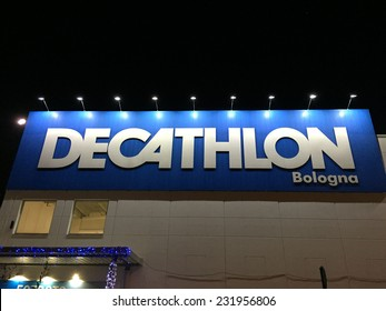 BOLOGNA, ITALY - NOVEMBER 19, 2014: Decathlon Sport Store insignia. Decathlon is the largest sporting goods reseller, founded in 1976.