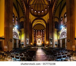 BOLOGNA, ITALY - NOVEMBER 21 2016: Church of Sacred Heart of Jesus, Emilia-Romagna Region, Northern Italy.