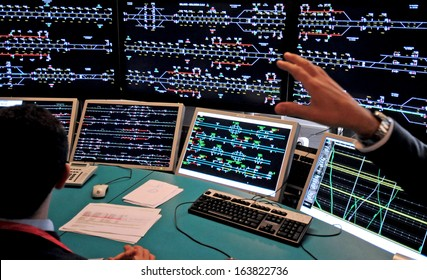 BOLOGNA, ITALY - NOVEMBER 26: central's station control room of the new high speed train Freccia Rossa. November 26, 2007 in Milan, Italy.