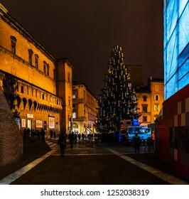 BOLOGNA, ITALY - NOVEMBER 27 2016: Biblioteca Salaborsa is main public library, in northern portions of Palazzo d'Accursio, flanking Piazza del Nettuno, which opens just north of Piazza Maggiore.