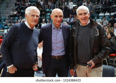 Bologna, Italy, October 06 2019 massimo zanetti , patron of virtus segafredo bologna, , ds luca baraldi and pierferdinando casini  during Segafredo Virtus Bologna Vs Umana Reyer Venezia  Italian Bask