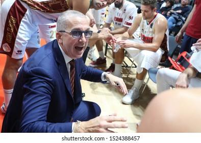Bologna, Italy, October 06 2019 walter de raffaele , coach umana reyer venezia,  during Segafredo Virtus Bologna Vs Umana Reyer Venezia  Italian Basketball A Serie  Championship