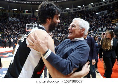 Bologna, Italy, October 06 2019 milos teodosic , virtus segafredo bologna, and massimo zanetti , patron of virtus segafredo bologna,   during Segafredo Virtus Bologna Vs Umana Reyer Venezia  Italian
