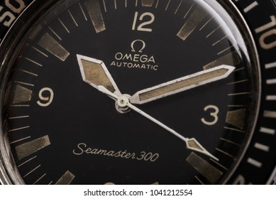 BOLOGNA, ITALY - OCTOBER 12, 2017: Omega vintage Seamaster 300 Professional diver watch. Omega has been creating watches since the 19th century. Illustrative editorial.