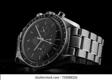 BOLOGNA, ITALY - OCTOBER 12, 2017: Omega Speedmaster Professional watch. Omega has been creating watches since the 19th century and was the first watch on the Moon. Illustrative editorial.