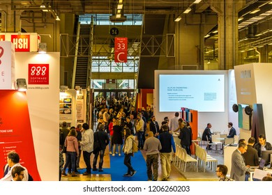 BOLOGNA, ITALY -  OCTOBER 17, 2018: Visitors visit fair. The fifty-third edition of the fair hopes to exceed the 52,453 visitors of the 2016.