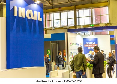 BOLOGNA, ITALY -  OCTOBER 17, 2018: lights enlightening INAIL logo on exhibition stand. AMBIENTE LAVORO is the first Italian fair dedicated to safety and health at work.
