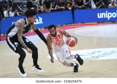 Bologna, Italy, October 19 2019 Josh Mayo (Openjobmetis Varese) (destra) thwarted from  Julian Gamble (Virtus Segafredo Bologna) during Segafredo Virtus Bologna vs Openjobmetis Varese Italian Basketb
