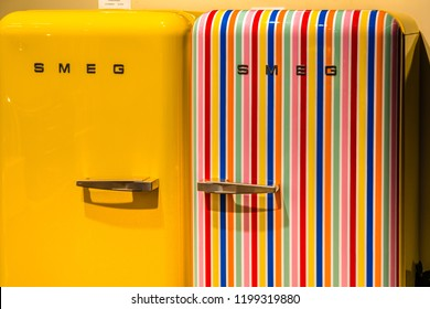 BOLOGNA, ITALY - OCTOBER 2, 2018: lights are enlightening SMEG refrigerators at FICO EATALY WORLD, the largest agri-food park in the world