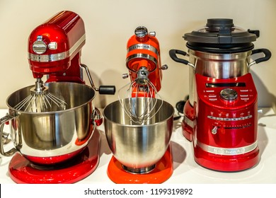 BOLOGNA, ITALY - OCTOBER 2, 2018: lights are enlightening KitchenAid appliances at FICO EATALY WORLD, the largest agri-food park in the world