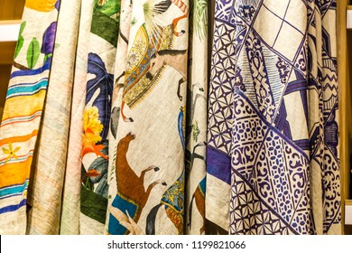 BOLOGNA, ITALY - OCTOBER 2, 2018: lights are enlightening tablecloths and sheets of raw cotton printed by hand at FICO EATALY WORLD, the largest agri-food park in the world