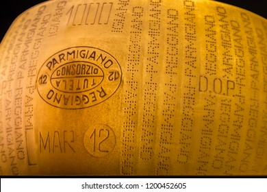BOLOGNA, ITALY - OCTOBER 2, 2018: lights are enlightening a drum of Parmigiano Reggiano at FICO EATALY WORLD, the largest agri-food park in the world