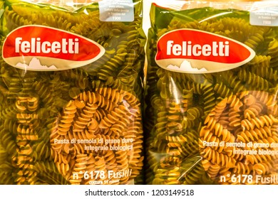 BOLOGNA, ITALY - OCTOBER 2, 2018: lights are enlightening Felicetti wholemeal pasta at FICO EATALY WORLD, the largest agri-food park in the world