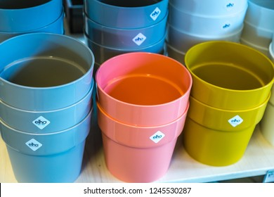BOLOGNA, ITALY - OCTOBER 2, 2018: lights are enlightening ELHO plastic pots at FICO EATALY WORLD, the largest agri-food park in the world