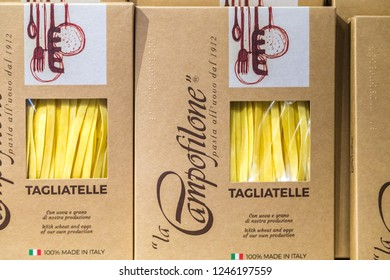 BOLOGNA, ITALY - OCTOBER 2, 2018: lights are enlightening Italian pasta at FICO EATALY WORLD, the largest agri-food park in the world