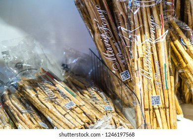 BOLOGNA, ITALY - OCTOBER 2, 2018: lights are enlightening Handmade breadsticks at FICO EATALY WORLD, the largest agri-food park in the world
