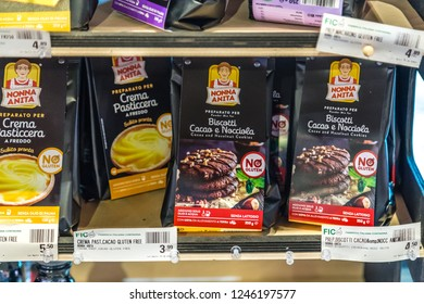 BOLOGNA, ITALY - OCTOBER 2, 2018: lights are enlightening cake ingredients at FICO EATALY WORLD, the largest agri-food park in the world