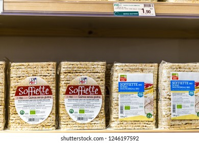 BOLOGNA, ITALY - OCTOBER 2, 2018: lights are enlightening organic rice cakes multigrain at FICO EATALY WORLD, the largest agri-food park in the world