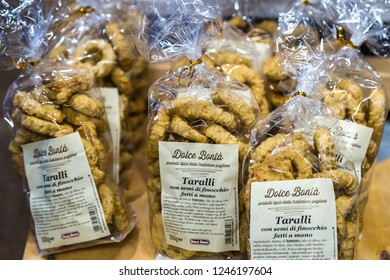 BOLOGNA, ITALY - OCTOBER 2, 2018: lights are enlightening taralli at FICO EATALY WORLD, the largest agri-food park in the world