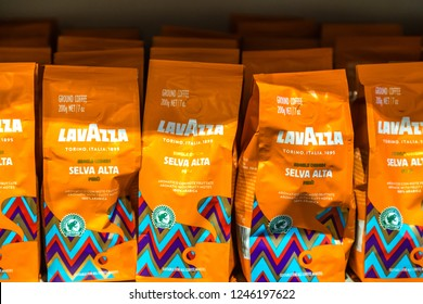 BOLOGNA, ITALY - OCTOBER 2, 2018: lights are enlightening Lavazza Coffee at FICO EATALY WORLD, the largest agri-food park in the world