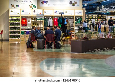 BOLOGNA, ITALY - OCTOBER 2, 2018: people having brunch at FICO EATALY WORLD, the largest agri-food park in the world