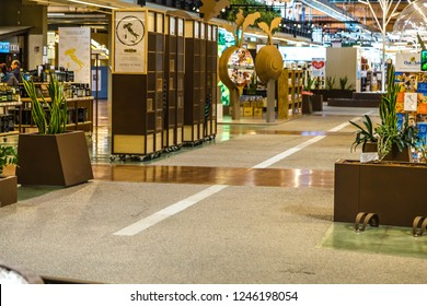 BOLOGNA, ITALY - OCTOBER 2, 2018: lights are enlightening shops at FICO EATALY WORLD, the largest agri-food park in the world