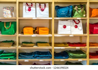 BOLOGNA, ITALY - OCTOBER 2, 2018: lights are enlightening shopping bags at FICO EATALY WORLD, the largest agri-food park in the world