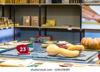 BOLOGNA, ITALY - OCTOBER 2, 2018: lights are enlightening shop at FICO EATALY WORLD, the largest agri-food park in the world