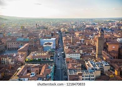 BOLOGNA, ITALY - October 2018: Aerial view of The Prendiparte Tower in old Bologna town, Italy