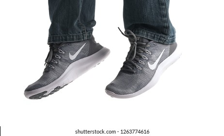 BOLOGNA, ITALY - OCTOBER, 2018: Brand new Nike Air sport shoes. Nike is one of the world's largest suppliers of athletic shoes. The company was founded in 1964. Illustrative editorial.