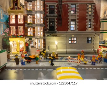 Bologna, Italy - October 21, 2018: City Booming, the largest city ever built with the LEGO, can be seen from October 20 to December 9 in the former church of San Mattia in Bologna.