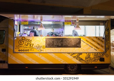 BOLOGNA, ITALY - October 23, 2015: The traditional Italian cuisine on the road. Food served by small trucks around the streets.