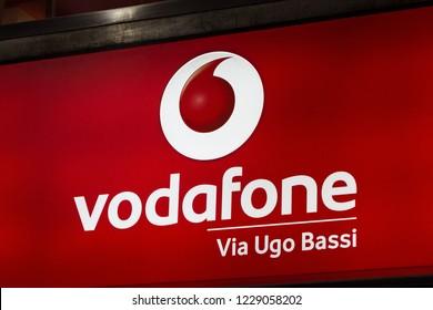 Bologna, Italy - OCTOBER 26, 2018: Vodafone logo on Vodafone's shop. Vodafone is a british telecommunications company