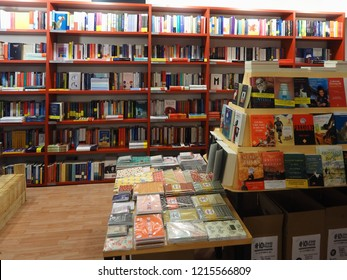 Bologna, Italy - October 27, 2018.  Italian bookshop with books on shelves.