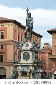 BOLOGNA, ITALY - OCTOBER 27, 2018: Fountain of Neptune in Bologna, Italy, on October 27, 2018 - Image