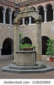 Bologna, Italy, Saint Stephen  basilica complex cloister well.