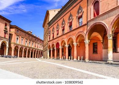 Bologna, Italy - San Stefano square in red Bolognese city, Emilia Romagna italian region.