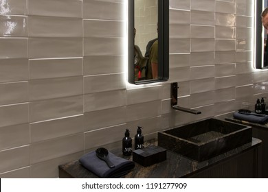 BOLOGNA, ITALY - SEP 26, 2018: Products displayed during Cersaie 2018, international Exhibition of Ceramic Tile and Bathroom Furnishings